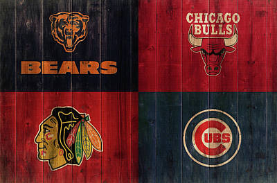 Mixed Media - Chicago Sports Teams Rustic Wood by Dan Sproul