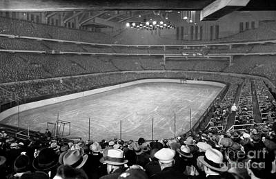 Vintage Poster Mixed Media - Chicago Stadium Prepared For A Chicago Blackhawks Game by Celestial Images