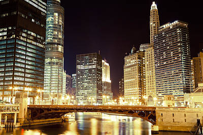 Illuminated Photograph - Chicago State Street Bridge At Night by Paul Velgos