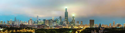 Photograph - Chicago Stormy Skyline Panorama At Night by Gregory Ballos