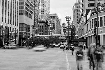 Photograph - Chicago Street Black And White  by John McGraw