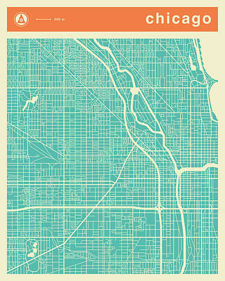 Modern Abstract Digital Art - Chicago Street Map by Jazzberry Blue