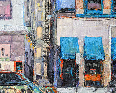 Painting - Chicago Street With Shop Windows  by Judith Barath