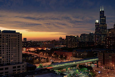 Photograph - Chicago Sunset Near South Loop by Patrice Bilesimo