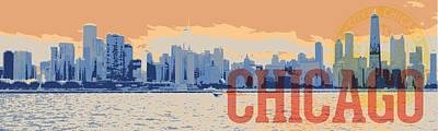 Digital Art - Chicago Sunset Skyline by David Holm