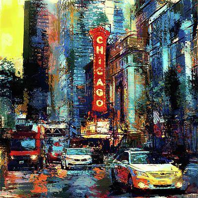 Building Exterior Digital Art - Chicago Sunset by Yury Malkov