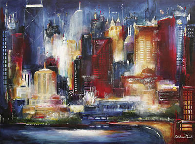 Cities Painting - Chicago - The Oak Beach Skyline by Kathleen Patrick