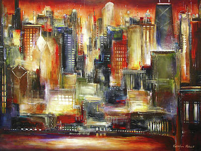 Chicago At Night Painting - Chicago - The Sunset Skyline by Kathleen Patrick
