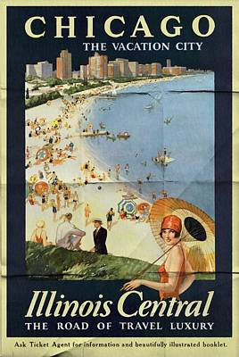 Chicago The Vacation City - Vintage Poster Folded Art Print