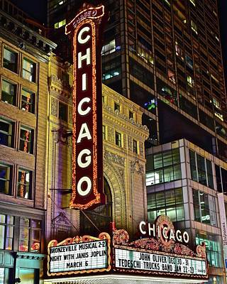 Hancock Building Wall Art - Photograph - Chicago Theater Aglow by Frozen in Time Fine Art Photography