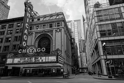Photograph - Chicago Theater Black And White  by John McGraw