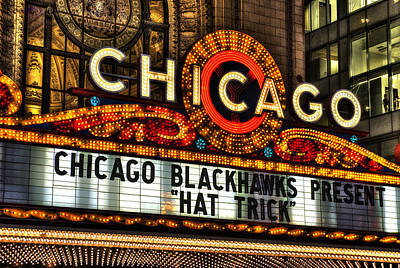 Street Hockey Photograph - Chicago Theater Marquee by Daniel Hagerman