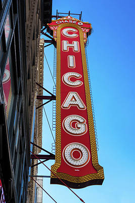 Watercolor Dragonflies - Chicago Theater Marquee Morning by Steve Gadomski