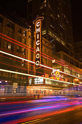 Marquee Photograph - Chicago Theater Marquee by Steve Gadomski