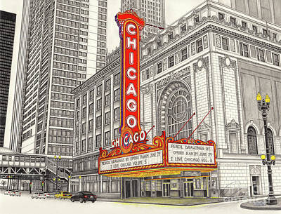 Drawing - Chicago Theater by Omoro Rahim