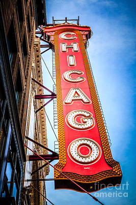 City Scenes Royalty-Free and Rights-Managed Images - Chicago Theater Sign Picture by Paul Velgos