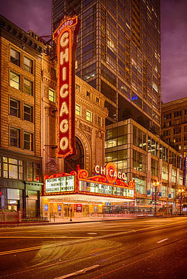 Historic Architecture Photograph - Chicago Theatre At Dusk - 175 North State Street - Chicago Illinois by Silvio Ligutti