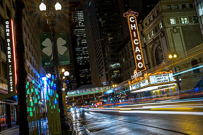 Lightscapes Photograph - Chicago Theatre Lightscape by Ryan Smith