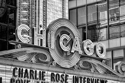 Chicago Theatre Marquee Black And White Art Print