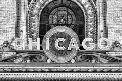 Chicago Theatre Photograph - Chicago Theatre Marquee Sign Black And White by Christopher Arndt