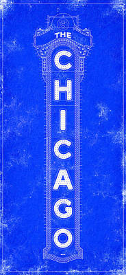 Chicago Theatre Sign - Blueprint Art Print by Mark Tisdale