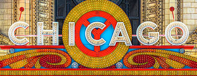 Photograph - Chicago Theatre Sign V3crop Details Dsc2176 by Raymond Kunst