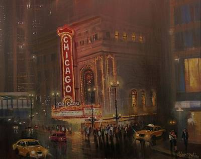 Chicago At Night Painting - Chicago Theatre by Tom Shropshire