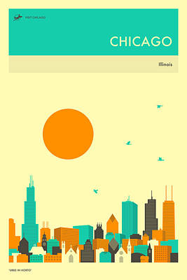 Chicago Skyline Digital Art - Chicago Travel Poster by Jazzberry Blue