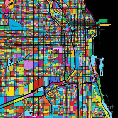 Chicago, Usa, Colorful Map Original