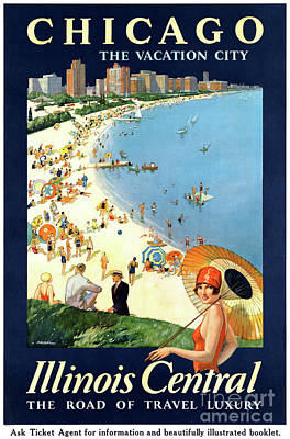 Mixed Media - Chicago Vacation City Vintage Poster Restored by Carsten Reisinger