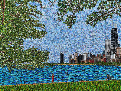 Painting - Chicago - View From Lakefront Trail by Micah Mullen