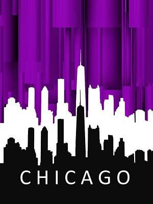 Silhouette Digital Art - Chicago Violet In Negative by Alberto RuiZ