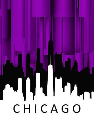 Silhouettes Digital Art - Chicago Violet Vertical  by Alberto RuiZ