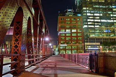 Photograph - Chicago Walkway At Night by Frozen in Time Fine Art Photography
