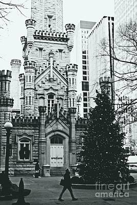 Frank J Casella Royalty-Free and Rights-Managed Images - Chicago Water Tower Christmas Tree - Monochrome by Frank J Casella