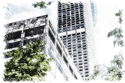 Soldier Field Mixed Media - Chicago Water Tower Place Facade And Signage Pa 01 by Thomas Woolworth