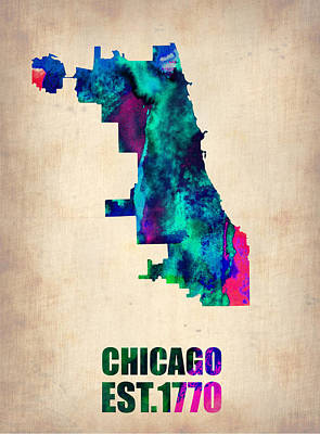City Digital Art - Chicago Watercolor Map by Naxart Studio