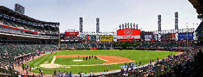 Chicago White Sox Family Day Panorama 04 Pa 01 Art Print by Thomas Woolworth