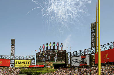 Chicago White Sox Mixed Media - Chicago White Sox Homerun Fireworks Scoreboard by Thomas Woolworth