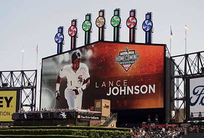 Chicago White Sox Mixed Media - Chicago White Sox Lance Johnson Scoreboard by Thomas Woolworth
