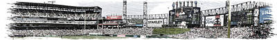 Horizontal Format Mixed Media - Chicago White Sox Pole To Pole Panorama 07 Pa 01 by Thomas Woolworth