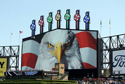 Chicago White Sox Mixed Media - Chicago White Sox Usa Eagle Scoreboard by Thomas Woolworth