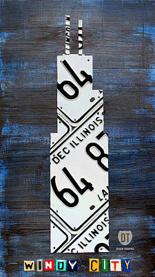 Chicago Wall Art - Mixed Media - Chicago Windy City Harris Sears Tower License Plate Art by Design Turnpike