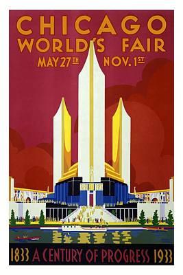 Mixed Media - Chicago World's Fair - Century Of Progress - Retro Travel Poster - Vintage Poster by Studio Grafiikka