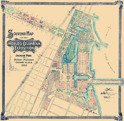 Sears Tower Drawing - Chicago World's Fair - Columbian Exposition Map - 1893 by War Is Hell Store