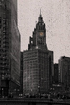 Chicago Wrigley Building At Dusk Pa 06 Sc Vertical Art Print by Thomas Woolworth