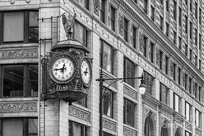 Grim Digital Art - Chicago's Father Time Clock Bw by Jerry Fornarotto