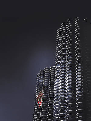 Usa Flag Photograph - Chicago's Marina Towers by Andrew Soundarajan