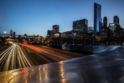 Columbus Drive Photograph - Chicago's Michigan Avenue Skyline At Dusk  by Sven Brogren