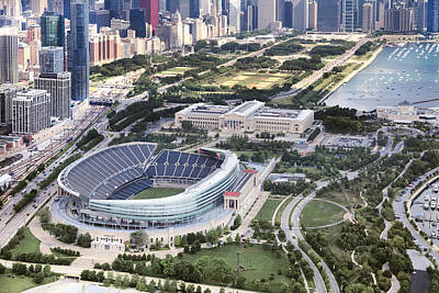 Football Royalty-Free and Rights-Managed Images - Chicagos Soldier Field by Adam Romanowicz